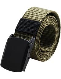 642a138372ae1e BEKILOLE Nylon-Canvas-Gürtel, atmungsaktiv, Militär-Stil, taktischer Gürtel,  mit Kunststoffschnalle, 38 mm…