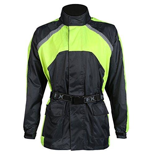 Chubasquero impermeable de motorista - Elástico - Negro / alta visibilidad - XL - 117cm