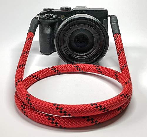 SEILSTYLES Kameragurt Längen | Handmade | Universal für DSLR SLR Kamera von Canon, Nikon, Sony, Olympus, Fujifilm, Samsung, UVM. | Camera Strap (110cm, rot/schwarz) -