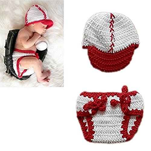 Hrph Crochet Knitting neugeborene Baby-Bilder Baseball Fotografie Props -