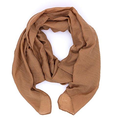 WILD CAT Damen Schal Halstuch Tuch aus Chiffon für Frühling Sommer Ganzjährig (Peru Braun)