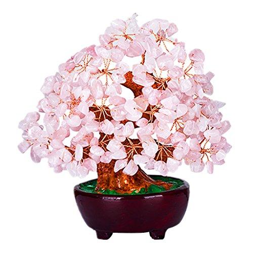 Homyl mini albero dei soldi di cristallo stile bonsai feng shui arredamento casa ufficio - rosa