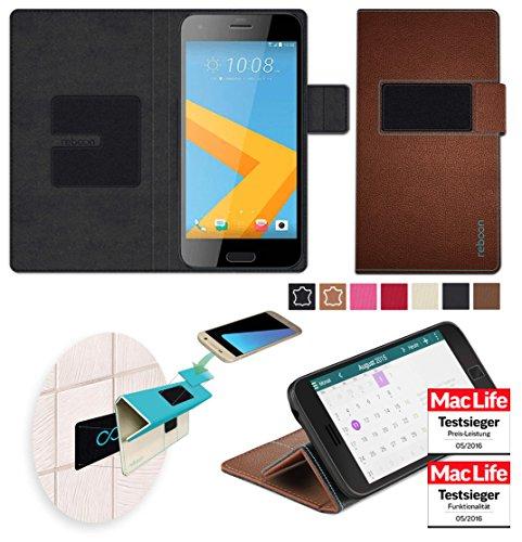 reboon Hülle für HTC One A9s Tasche Cover Case Bumper | Braun Leder | Testsieger