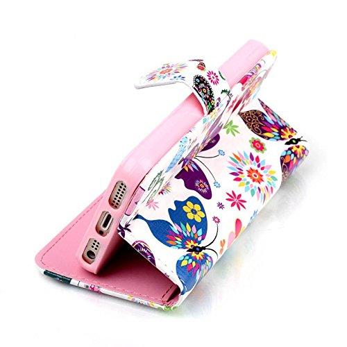 iPhone 5S Coque, cowx Étui de protection Etui en cuir pour iPhone 5S 5Étui en cuir PU Case Coque, iPhone 5, iPhone 5S 5Case, housse support portefeuille pour iPhone 5S 5poches Bols für Apple Iphone bleu