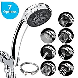Shower head with hose, AUSHEN high-pressure water-saving hand shower, 7 different spray types Shower head with 1.5m flexible stainless steel shower hose, chrome [12-year guarantee]