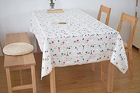 YYHSO Pastoral Fresh Cotton Linen Lace edge Tablecloth Eiffel Tower Tree Flowers Coffee Tea Lounge bar Table Decorative Table Cover ,