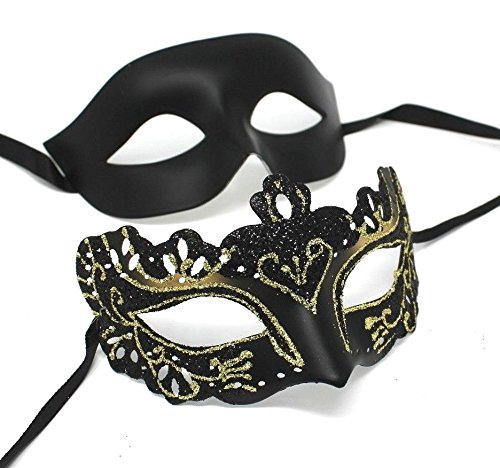 Sein und ihrs Zwei Schwarz u. Gold venezianische Maskerade Partei Karneval Masken Für Paare (Maskerade-maske Für Paare Gold)