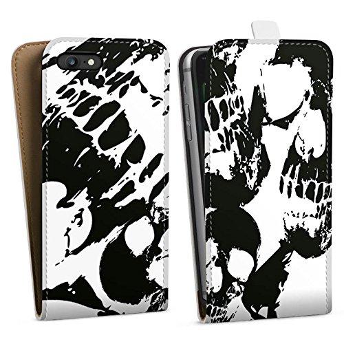 Apple iPhone X Silikon Hülle Case Schutzhülle Skull Schwarz-Weiß Gothic Downflip Tasche weiß