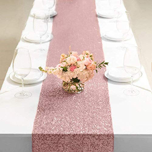 Glitter Pailletten Tischdecke für Hochzeit Festival Tischdekoration Geburtstag Dekor Feier Roségold Gold Silber ()