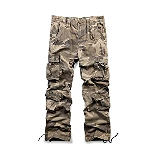 OCHENTA Men's Cargo Regular Trouser Army Combat Work Trouser Workwear Pants with 8 Pocket #3357 Camo M 44