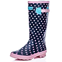SPYLOVEBUY Knee HIGH Flat Festival Wellies RAIN Boots Pink Rubber SZ 7