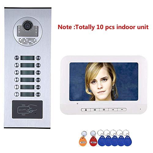 GJR-MENGLING 7 Zoll intelligente Video-Türklingel, Home-Video-Türe-Intercom-System HD 1000TVL Camera/Smart Türschloss Home Intercom-systeme