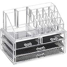 Feibrand Organizador Maquillaje Caja Cosméticos Transparente Acrílico 20 Compartimentos