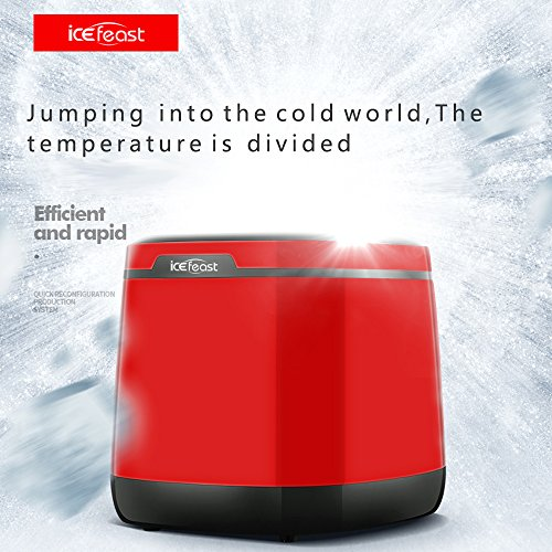 ICEFEAST Counter Top Ice Maker Machine-High Efficiency-Low Noise-Low Energy- 2 Cube Sizes-25KG Ice Per Day-No Plumbing-New Compact & Portable-Easy to clean-UK British Standard Plug 220-240V/50Hz(Red)