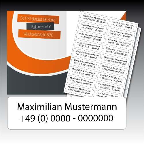 50 zweizeilig bedruckte Wäsche-Etiketten - weiß, schwarze Schrift - 15 mm x 55 mm (max. 25 Zeichen je Zeile) - in Industriequalität zum Aufbügeln - waschmaschinenfest - nicht ablösbar - von Luminess - Made in Germany