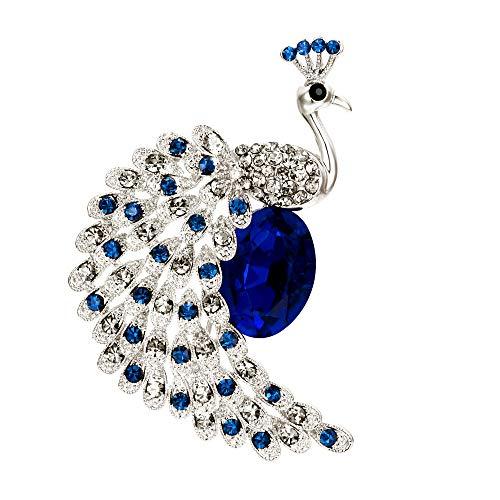 Ever Faith Damen Brosche Kristall Hochzeit Braut Pfau Vogel Pin für Kleidung Schmuck Dekoration Blau Gold-Ton