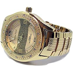 Techno Trend Gold Plated Sandblast Stripe Faux Diamond Hiphop Mens Watch