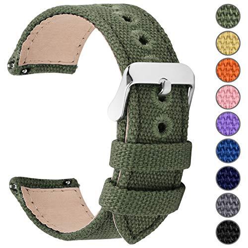 Fullmosa 14mm 16mm 18mm 20mm 22mm 24mm Bracelet Montre à Dégagement Rapide, 8 Couleurs Bracelet de Montre Militaire en Toile pour Hommes Femmes, 20mm Vert d'armée