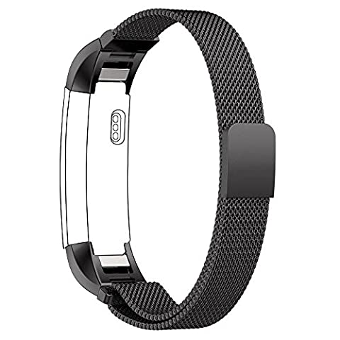 Fitbit Alta Bands Fitbit Alta HR Strap, with Unique Magnet Lock, PUGO TOP Milanese Loop Stainless Steel Bracelet Strap Band for Fitbit Alta Smart Watch No Buckle Needed (Black)