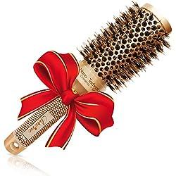Meilleure brosse à cheveux ronde avec poils en sanglier naturels pour sèche-cheveux (5,3 cm) - Outil élégant de cheveux de qualité de salon profession pour Cheveux en bonne santé soyeux et doux