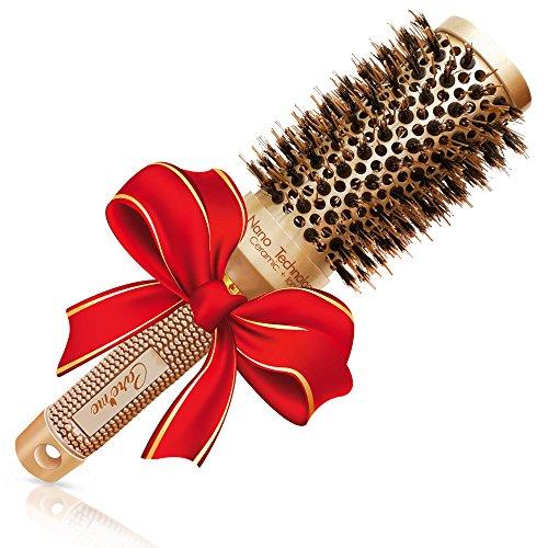 Migliore spazzola per capelli rotonda con setole naturali di cinghiale per asciugare i capelli, raddrizzare -per capelli da salone luminosi e voluminosi -5,3 cm per capelli lunghi o per lisciarli