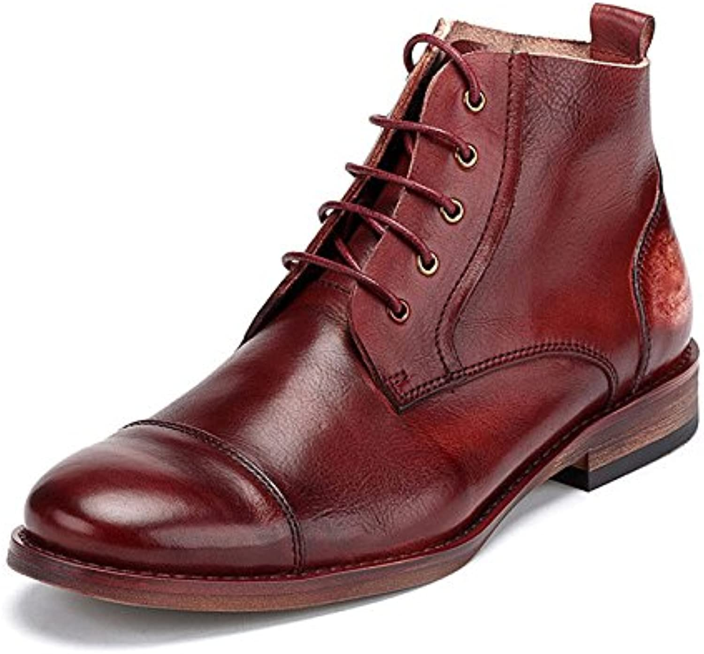 ZPFDY Hombres Otoño Británico Informal Martin Boots Moda Juventud Encaje Botas De Cuero -