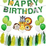 REYOK Jungle Animals Kids Birthday Party Decoration Zoo Themed Happy Birthday Banner with Green Balloons Tassel Garland Primeval Forest Party Boys Kids Birthday Nursery Decoration