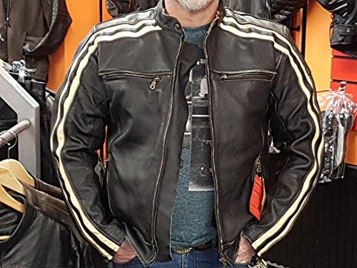 """Retro Schwarz Cafe Racer die """"Bonnie"""" 100% Bovine Leder Motorrad-Jacke CE Armoured–Elfenbein Streifen Gr. xl, Schwarz – Schwarz - 2"""
