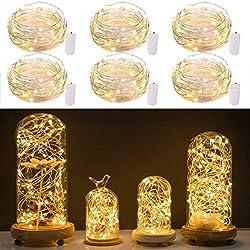 Wamvp Ensemble de 6 guirlandes étoilées de Lune avec 20 Micro-diodes sur du Fil de cuivre revêtu d'argent de 2 Pieds 2 Piles CR2032 pour Le décor de Table de Mariage de Bricolage (Blanc Chaud)