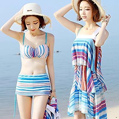 ZHANGYONG*Traje de baño femenino de 3 piezas bikini sexy pequeñas partículas de pecho y resorte de acero plano de traje de baño.