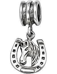 So Chic Joyas - Abalorio Charm de herradura y cabeza de CaballoCaballo en la - Compatible con Pandora, Trollbeads, Chamilia, Biagi - Plata 925