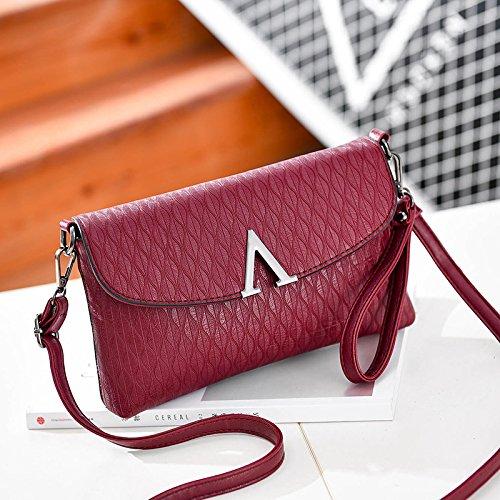LiZhen Ms. flussi di pacchetti la nuova Europa e il design elegante e il temperamento versatile pacchetto a mano singola Mini borsa a tracolla è un piccolo pacchetto di autunno V-vino rosso confezione regalo