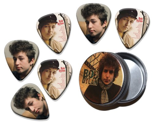 Bob Dylan Set of 6 Double Sided Loose Gitarre Plektrum Plektron Picks in Tin (Bob Dylan-gitarre Picks)