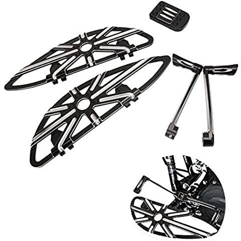 WANOOS CNC Aluminum Front Driver Floorboard Footboard & Heel Toe Shift Lever & Foot Pedal Set for Harley Touring Glide Softail Dyna