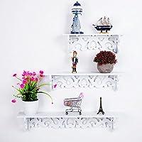 Mensole decorative traforate portaoggetti da parete, libreria da parete, di colore bianco e in confezione da 3 pezzi.  Caratteristiche tecniche: Colore: bianco.