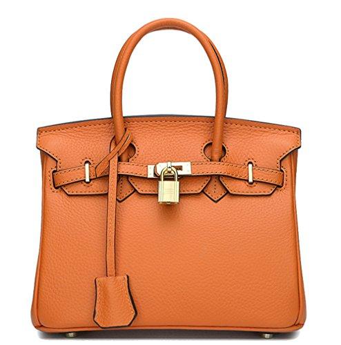 Sacs à main pour femme Xinmaoyuan Litchi Bar d'Packcowhide Sac à bandoulière sac à main Platinum Orange