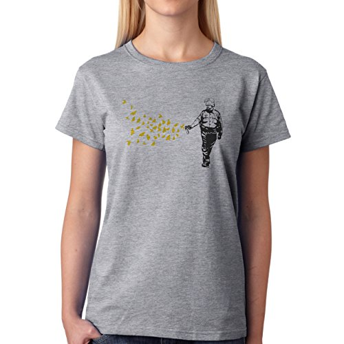Mens Pepper Spray Cop Butterflies Birds On American Apparel Army T Shirt Damen T-Shirt Grau
