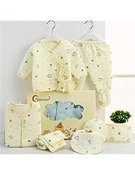 SHISHANG Set de 7 piezas Baby Gift Box Bebé puro algodón Suit Boy Boy cuadro adecuado para 0-3 meses recién nacido caja de regalo de algodón puro (100%) Paquete de regalo de cuatro estaciones amarillo y azul , B