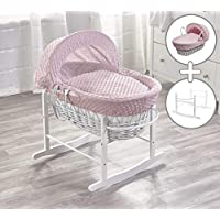 Pink Dimple on White Wicker Padded Moses Basket & White Rocking Stand