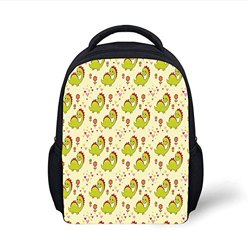 Kids School Backpack Dinosaur,Cute Dinosaur Characters with Spring Meadow Flowers Hearts Decorative,Pistachio Green Light Yellow Red Plain Bookbag Travel Daypack - Spring Meadow Green