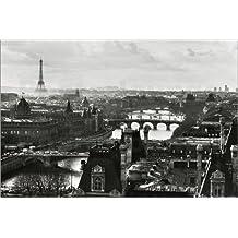 laminé géant Mappemonde/vue Paris Vintage B/W POSTER dimensions a massive 139,7x 99,1cm (140x 100cm)
