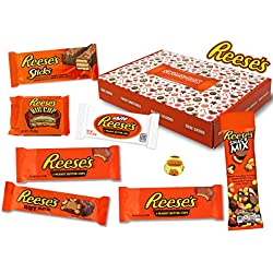 Reeses - Sweet Box - Cesta de regalo | 8 dulces estadounidenses diferentes | Tazas de mantequilla de maní en leche entera y chocolate blanco | USA Reese Sticks, Nut Bar, Piezas, Big Cup, etc.