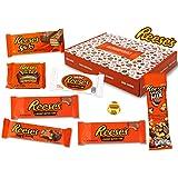 Reeses - Sweet Box - Panier Cadeau | 8 bonbons américains différents | Tasses de beurre d'arachide au lait entier et au chocolat blanc | USA Reese Sticks, barre de noix, morceaux, grande tasse etc.