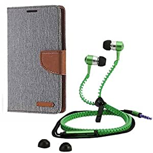 Aart Fancy Wallet Dairy Jeans Flip Case Cover for Asuszen-5 (Grey) + Zipper Earphones/Hands free With Mic *Stylish Design* for all Mobiles- computers & laptops By Aart Store.