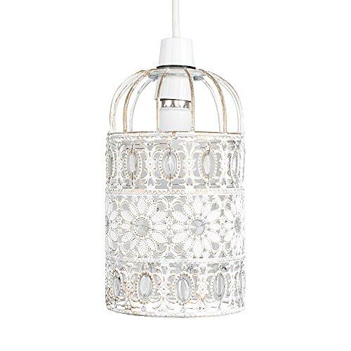 MiniSun - Preciosa pantalla de lámpara de techo de metal vintage, 'shabby chic' – de estilo jaula floral y con ornamentos en blanco crema
