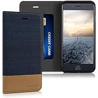 kwmobile Flip cover custodia per > Apple iPhone 6 / 6S < - Custodia protettiva cover a forma di libro in ecopelle e tessuto blu scuro marrone