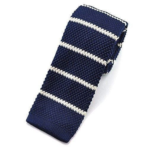 "PenSee para hombre Casual Slim 2.16""Skinny corbata rayas Knit tie-various colores Navy Blue & White Stripes Talla única"