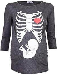 Happy Mama Para Mujer Camiseta premamá con estampado de esqueleto 615p