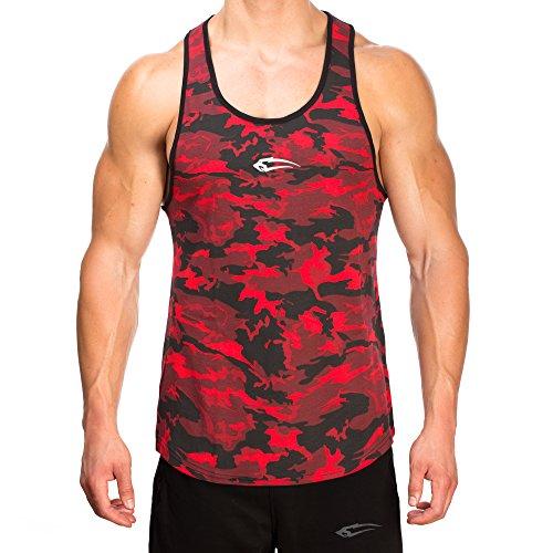 SMILODOX Camouflage Stringer Herren | Muskelshirt mit Aufdruck für Gym Fitness & Bodybuilding | Muscle Shirt - Unterhemd - Achselshirt - Trainingshirt Kurzarm, Größe:L, Farbe:Rot Camouflage