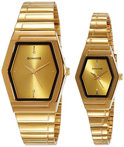 51h0kVsA wL - Sonata NF70838074YM02 Pairs Gold Couple watch